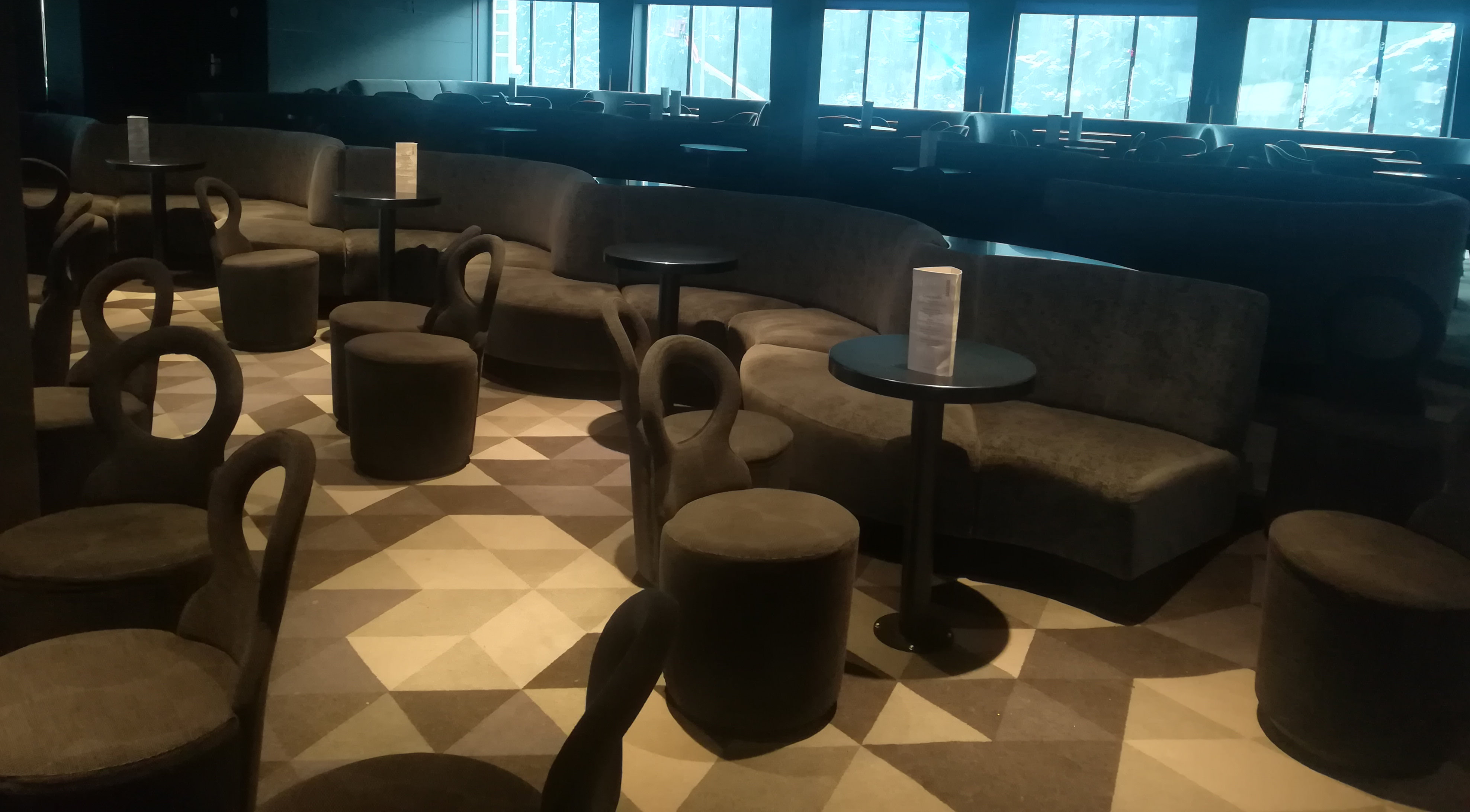 Cruise ship and Ferrie's dining and lounge areas chairs seats and tables