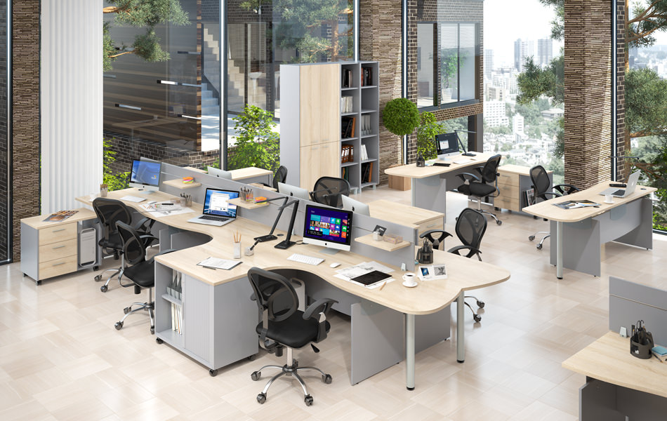 Acoustic panels, office desks and chairs in open office